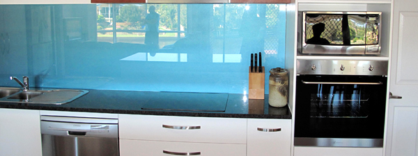 blue glass splashboard