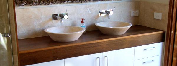 Dark brown double sinks